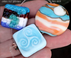 Oldies but Goodies Tiles Lentil (Laura Blanck Openstudio) Tags: openstudio openstudiobeads glass handmade lampwork murano beads set made usa fine arts jewelry art artist artisan whimsical funky odd colorful multicolor abstract asymmetric earthy organic bohemian boho matte opaque frosted gypsy etched glow glowing nuggets tiles lentils sky blue aqua turquoise orange coral mango ivory burgundy tumbled lines stripes pink