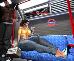 On A Real Train (Pixel Beast) Tags: train destination london bdr beautiful dirty rich ego divina jeans crop ton yellow blue white magazine reading david heather his case trial logo lounge bag louis vuitton murakami foxcity anybody event slealthic hair natural vogue sex pretty young girl woman secondlife second life sexy thepixelbeast thesims feet up imvi avikin otherworld fashion style blog blogger virtual hourglass belleza maitreya slink tonic body tmp arcade gacha