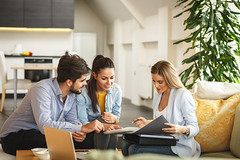 932275488 (creative guide) Tags: agent realestate assurance ownership female couple home credit consultation documents medical adviser social relaxed life worker positive finances appointment conversation together indoor serbia srb