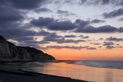 Normandy into the night (Ker Kaya) Tags: landscape night reflections cliffs sea tide clouds sky kerkaya sony sonydscrx10m4 pink carlzeiss rx10m4 rx10miv rx10