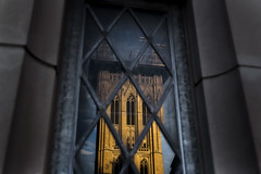 Like the evening sun... (8230This&That) Tags: sunlight nationalcathedral cathedral goth gothic gothiccathedral cathedralrepairs reflection windowreflection washingtondc dc sunset