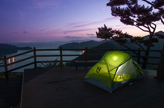 Saryangdo Camping (Keith.Adrian.Bateman) Tags: camping camp tent sunset purple pink korea south water ocean mountain outside outdoors cam ca nemo dagger 2p green dreamy peak view views paradise beautiful solo sea sky clouds saryangdo korean canadian camper