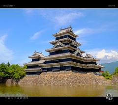 烏城 Karasu-jō (tomraven) Tags: castle japan matsumoto crowcastle crow black tomraveninjapan aravenimage moat lake sky clouds sun tomraven summer nagano honshu q32018 olympus penf