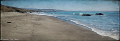 The Beach From San Simeon Cove (lorinleecary) Tags: composite beach ocean textured bluff digitalart artography rocks photomorphisbites panorama waves photomanipulation morrobay