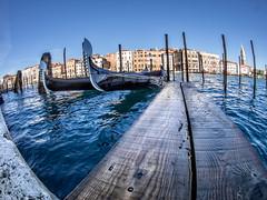 Heading To The Gondola (derek.dpr) Tags: venice venezia venise italy italia fisheye gondola gondolas boardwalk boards grandcanal canal olympus omd em5 on1pics on1