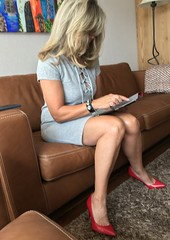MyLeggyLady (MyLeggyLady) Tags: leather cleavage sex hotwife milf sexy secretary teasing minidress thighs pumps stiletto cfm red legs heels