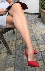 MyLeggyLady (MyLeggyLady) Tags: crossed upskirt cleavage sex hotwife secretary teasing milf sexy minidress miniskirt thighs pumps stiletto leather red cfm legs heels