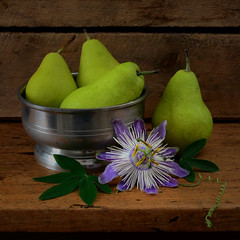 Spotlight on Passion (njk1951) Tags: stilllife tabletopphotography pears greenpears passion passionflower lavendarpassionflower wood oldwood tendril leaf bowl pewterbowl