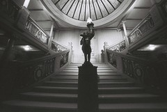 The Grand Staircase (goodfella2459) Tags: nikonf4 afnikkor14mmf28dlens ilforddelta3200 35mm blackandwhite film analog titanic history sydney exhibitioncentre byronkennedyhall whitestarline grandstaircase bwfp