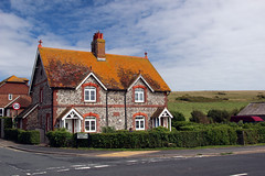 Flint House in Ovingdean, Sussex (iwys) Tags: house flint tiles sussex south downs beacon hill ovingdean brighton traditional summer sky chalh rottingdean chimney cottage roof