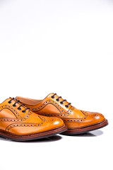 Concepts of Luxury Male Footwear. A pair of Full Broggued Tan Leather Oxfords Shoes Isolated Over White Background. (DmitryMorgan) Tags: againstgray boots broggued brogue brogues brown brownish closeup craft elegant fashionable footwear forman holes isolated laced laces leather luxury material overwhite oxfords oxfordsshoes polished premium semibrogue shine shoemaking shoes table tan uniquemodel