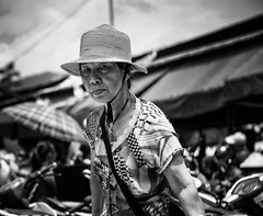 Street Candid (Rod Waddington) Tags: vietnam vietnamese streetphotography street market woman hmong blackandwhite mono monochrome hat bag senior old outdoor