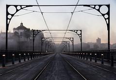 Dom Luís I Bridge, Porto. (domrhughes) Tags: bridge porto architecture symmetry hazy dawn sunrise moody portugal travel explore adventure tramlines canon misty