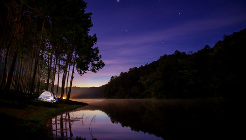 Landscape of Night camping with stars in Pang ung