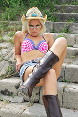 Sandy 74 (The Booted Cat) Tags: sexy blonde hair model cowgirl hotpants jeans belt bikini boots legs cowboyboots