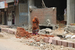 woman at construction work (leobos) Tags: india work woman