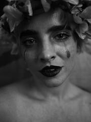 Flower Goddess (sirblackmoore) Tags: black white monochrome flower makeup clown mime sad tears cry portrait closeup close up contrast dark gothic goth panasonic g5 mirrorless pancake lens prime raw unedited detroit blackmoore craig