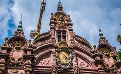 2018 - Germany - Heidelberg - University Library (Ted's photos - For Me & You) Tags: 2018 cropped germany heidelberg nikon nikond750 nikonfx tedmcgrath tedsphotos vignetting heidelberguniversity heidelberguniversitylibrary josefdurm crane constructioncranes potain arches spires