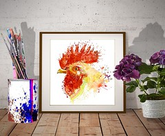 Rooster Head (marianv2014) Tags: rooster head watercolor aquarelle watercolorpainting orange red yellow poultry profile sideface domesticbirds wallart roosterart fineart kitchendecor walldecor bird birds drippingpaint splashes splatters feathers roosterdecor birdart birddecor kitchenposter roosterposter watercolorposter artgifts affordableart squareformat illustration artwork art animal beautiful whitebackground contemporary zoology single decor