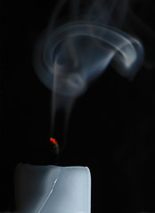 Candle Smoke (1selecta) Tags: hot red incandescent burnt burn smoke candle wick blue blueish white black out grey