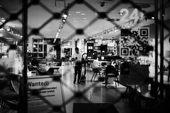 Closed for cleaning (iamunclefester) Tags: münchen munich blackandwhite monochrome street closed window shop cleaning rollergrill lights lamps vacuumcleaner vacuum cleaner chair