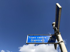 Above the cloud (gingerbudbomb) Tags: underthecloud wigstonmagna urbansigns moreblue blue towncentre streetsign