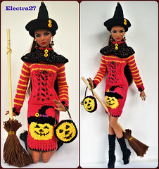 OOAK  Hand made outfit for Halloween (electraere) Tags: knitingdoll knitting knite dolls12 doll dress poppyparker fr2 fashionroyalty fr fashionroyaltypoppyparker integrity clothes