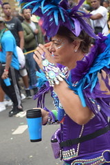 DSC_8386 Notting Hill Caribbean Carnival London Exotic Colourful Blue and Purple Costume with Ostrich Feather Headdress Girls Dancing Showgirl Performers Aug 27 2018 Stunning Ladies (photographer695) Tags: notting hill caribbean carnival london exotic colourful costume girls dancing showgirl performers aug 27 2018 stunning ladies blue purple with ostrich feather headdress