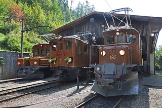 Three RhB locos at Chaulin
