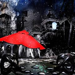 DorianaSinnett_Balboa Park_9000x9000 (atelierimagery) Tags: umbrella building architecture park statue night rain bubble rock digitalart