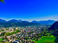 View over Kufstein, Tyrol, Austria (UweBKK (α 77 on )) Tags: österreich sky blue city urban cityscape view river inn valley mountains alps trees forest green kufstein tirol tyrol austria europe europa iphone