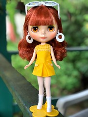 """What a spunky little Mod girl! All ready to appear on """"Laugh In"""". I can hear the theme song now. Sarahshades (Painters Life) Tags: yellow 70s 60s psychedelic mod takara redhead doll blythe sarahshades"""