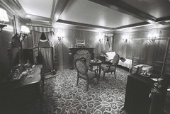 First Class Suite (goodfella2459) Tags: nikonf4 ilforddelta3200 35mm blackandwhite film analog titanic history sydney exhibitioncentre byron kennedy hallwhite star line bwfp