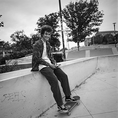 Skateboarder (Dalliance with Light (Andy Farmer)) Tags: skateboard streetportrait hasselbladzeiss50mmcf philly bw hc110dilb film hasselblad500cm skater delta100 philadelphia street pennsylvania unitedstates us