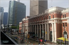 Waterfront Station Van18i13 LG (CanadaGood) Tags: canada bc britishcolumbia vancouver downtown station rain building architecture canadagood 2018 thisdecade color colour cameraphone umbrella
