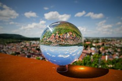 Upside down (DrQ_Emilian) Tags: abstract landscape view town ball glassball globe reflection details light colors bokeh outdoors vinneyards lensball sky clouds sunlight travel visit upsidedown stetten kernen remstal remsmurrkreis badenwürttemberg germany europe photography hobby perspective