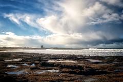 Easky Tower (dubdream) Tags: easky tower countysligo ireland atlantic clouds cloudysky rock lowtide landscape seascape colorimage wind surfer dubdream olympuspenf seacape shoreline storm beach