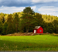 A Little Red Cabin (YogiMik) Tags: a little red cabin norwegian woods norway grass green field hut trees sky wonderful enchanting contrast blue clouds siggerud yogi mik nice photo picture
