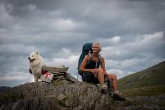 Two hikers (hanschristian_nielsen) Tags: norge vandreferie trollheimen norway summer hiking sky cloud people dog animal samyoed redt