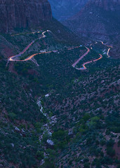 Zion light trails (Valley Imagery) Tags: canyon overlook light trails cars night lookout long exposure national park zion utah sony a99ii