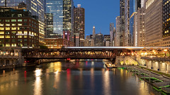 Chicago River 2 (Rodney Topor) Tags: architecture chicago chicagoriver cityscape longexposure nightshot reflection river skyline usa xt2 xf1024mm train illinois
