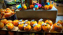 goofy pumpkins🎃🎃 (sugarelf) Tags: pumpkins september season autumn pacificnorthwest night pumpkinseason atthegrocerystore supermarket photography