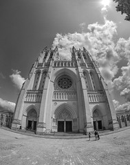 Washington National Cathedral Fisheye (jtgfoto) Tags: approved washingtonnationalcathedral architecture cathedral washingtondc sonyimages sonyalpha alphacollective architecturalphotography church gothicarchitecture building sky exterior fisheye fisheyelens bnw blackandwhite bw monochromatic distortion clouds