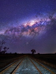 Midnight Express (Muzfox) Tags: astro astrophotography night nightscape land landscape blue red yellow orange sky star stars rosewood ipswich queensland australia train trains track tracks rail railroad rural country nightsky