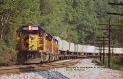 (SEE & HEAR)--Chessie 6253, Lavenia, PA. 9-11-1988 (jackdk) Tags: train railroad railway locomotive emd emdgp40 emdgp402 gp40 gp402 standardcab seeandhear seehear chessie chessiesystem bo baltimoreandohio keystonesub pittsburghsub csx csxt trailertrain tofc trailerjet fallenflag