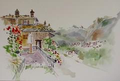 GIGNOD; En passant par le Val d'Aoste, et en direction de Martigny (geneterre69) Tags: montagne italie watercolor aquarelle