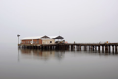 Pier (Curtis Gregory Perry) Tags: port angeles washington pier dock water reflection cloudy smoky fog nikon d810 long exposure puget sound ferry boat ship gloomy