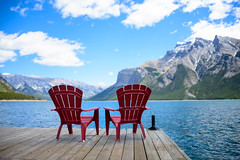 Front Row Seats - Lake Minnewanka (Sid's Corner) Tags: green canada canadianrockies rockies nature natureaddict nationalgeographic nationalgeographicworldwide ngc northamerica blue adventure schoksi schoksiphotography scenery nikond800 americas d800 flickraward flickrcentral flickrgallery flickrawardgallery picoftheday landscape landscapes lake lakes paradise travel tripofalifetime viewpoint nationalparks nationalpark mountain mountains naturephotography banff banffnationalpark minnewanka lakeminnewanka jetty boardwalk peace