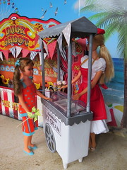 8. Tough decisions (Foxy Belle) Tags: doll vintage barbie diorama summer carnival fair 16 scale playscale food beach sand boardwalk ice cream stand rement stacey tnt working skipper