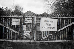DANGER (Alexander Jones - Documentary Photography) Tags: documentary photography urban exploration abandoned factory industry industrial south wales warehouse new topographic inspired minolta dynax 700 si 700si ilford delta 400 ilfosol 3 brickworks brick works silica beynon davies civils kidwelly carmarthenshire west urbex